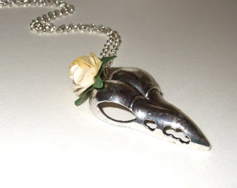 Bird Skull Necklace, Gothic Skull Jewelry, Yellow Rose, Rose and Skull, Lemon Yellow Rose, Flower Skull, Halloween Jewelry, Silver Bird Head