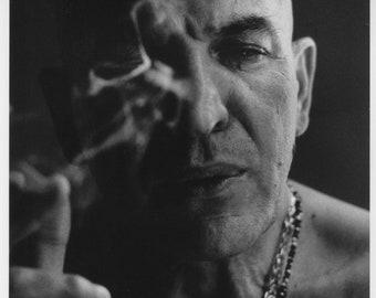 Original Black & White Portrait of Telly Savalas Smoking Cigar by Michael Mauney for People Magazine circa 1974