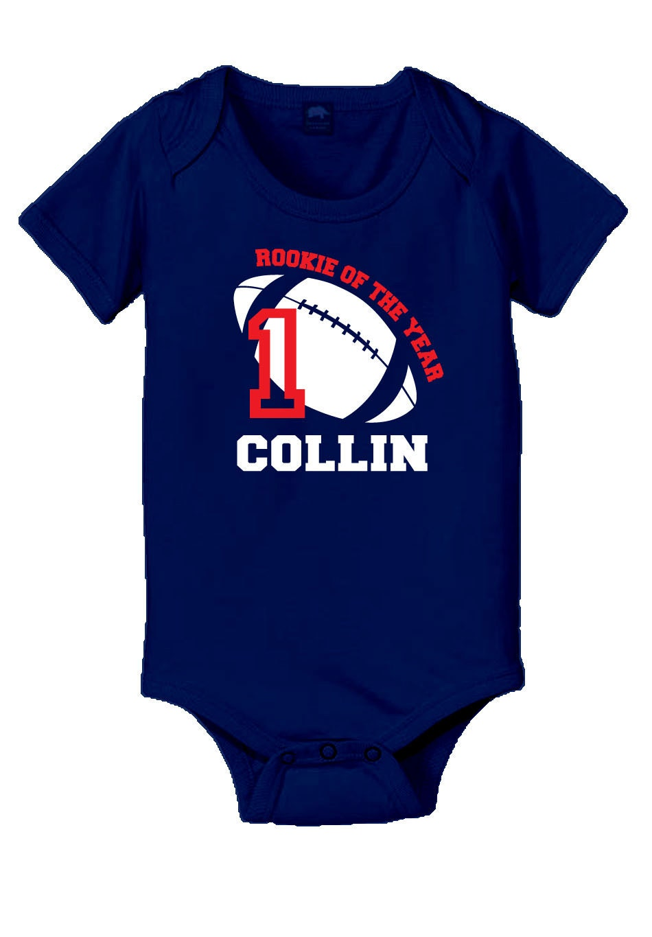Personalized Football Rookie Of The Year Baby Onesie Or T