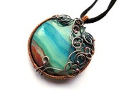 Jasper Copper Necklace - Jade Teal Turquoise - French Roast Necklace - Geometric Necklace - Wire wrapped Copper Necklace