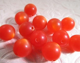 30 Vintage 10mm Bittersweet Orange Red Moonglow Lucite Beads Bd275
