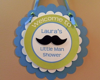 Door Sign: Little Man Mustaches and Ties - Boy Baby Shower or Kids Birthday Party Decorations