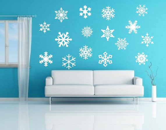 snowflakes removable vinyl wall decals by cuttinupcustomdiecut. Black Bedroom Furniture Sets. Home Design Ideas