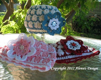 Crochet Pattern 014 - Beanie Hat  &  Flower Clip Crochet Patterns Baby Girl Hat Girls Ladies Easter Summer Hat Lace Beanie Flower Pattern