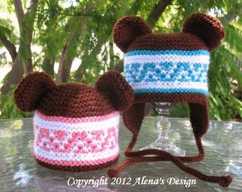 Knitting Pattern 018 - Knitting Hat Pattern for Beanie & Ear Flap Hats with Bear Ears - Beanie Hat - Ear Flap Hat - Bear Hat - Bear Ears