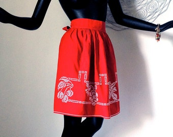 50s Vintage Apron Rockabilly Red Cherries Fruit 1950s 1960s Handmade Cross Stitch Embroidery Kitchen Christmas Holiday Party Housewarming