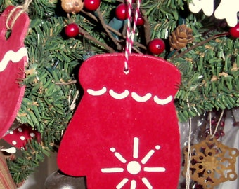 Red mitten hand painted Christmas ornament