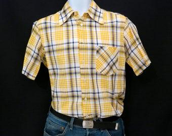 Plaid Mens Yellow Shirt, Small