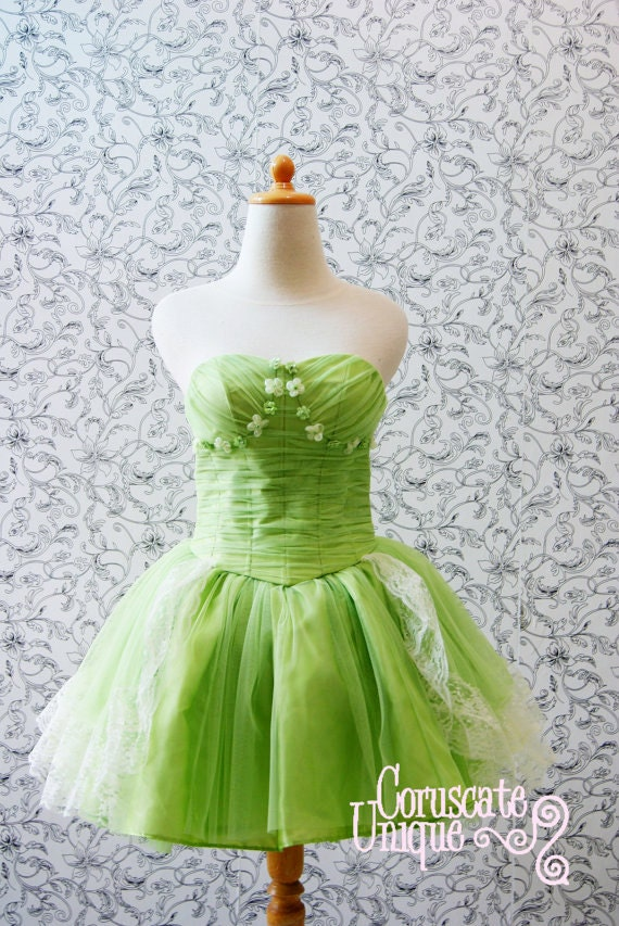 Green puffy tutu bustier short wedding dress exquisite details