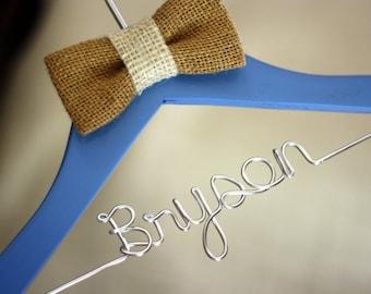 Personalized Children's Decorative Wooden Wire Hanger W/ Burlap Bow Tie - Baby Boy
