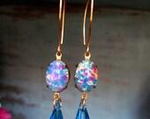 "HANDMADE Glass OPAL Earrings  -""Velvet Tears""- Vintage Blue Glass, Bohemian Chic, Gypsy Elegance, Brilliant Color, OOAK, Photo Shoot Class"