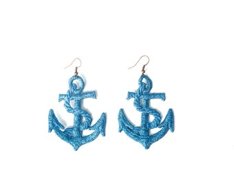 Blue Anchor Lace Earrings