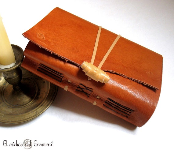 Handmade Journal, Orange Leather, Blank Book MEDITATIO Ready to ship