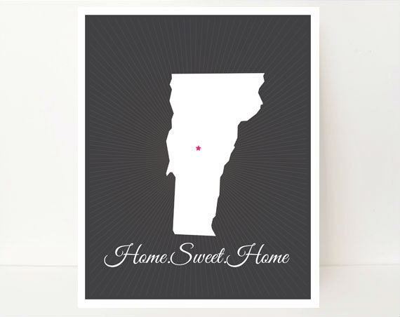 Prints, Wall Art, Map Print, Vermont Map, State Artwork, Home Sweet Home Art, Home Art Print, Home Decor Prints, Home Gift, Home Typography