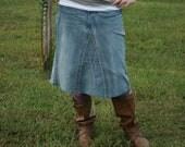 Women's Denim Skirt, Knee Length- Made To Order