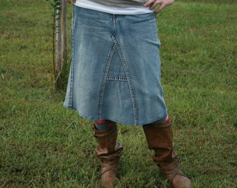 Jean Skirt, Below Knee, Made To Order