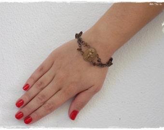 Victorian Bracelet, Gothic Jewelry, Angel Renaissance Chainmaille Bracelet, Brass Angel Goth Cuff, Fallen Angel Bracelet, Cupid Bracelet