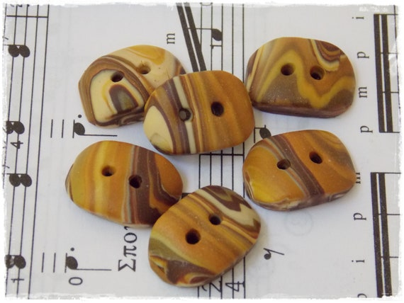 Polymer Clay Buttons, Striped Gold Buttons, Large Oblong Buttons, Handmade Gold Buttons, Rectangular Buttons, Handmade Clay Large Buttons