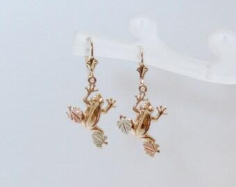 Whitaker's Black Hills Gold Frog Dangle Earrings