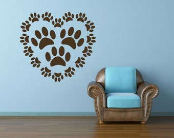 Paw Prints Decal, Dog Decal, Dog Decor, Pet Decal, Pet Decor, Vet Decal, Vet Stickers, Veterinarian Gift, Home Decor, Heart Decal, Cat Decal