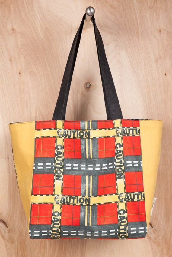 Tote bag- Canvas Tote bag- CAUTION tape- yellow and red- by beckyzimmdesign