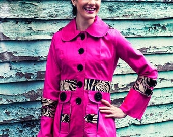 Estrellia Wild Side Jacket - fitted women's coat, peter pan collar, oversized cuffs, sleeve tabs, shoulder tabs, tabbed pockets, button up