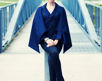 Pamela Jacket Cape - women's coat, single breasted, sleeve tabs, large buttons, pleats, poncho, warm, seasonal, fall, winter, spring