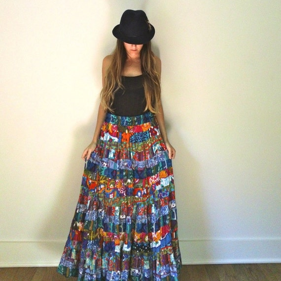 patchwork gauze maxi skirt bright bold colorful by