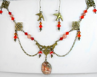 Victorian Inspired Necklace Set,  Hand Cut Crazy Lace Agate Pendant, Swarovski