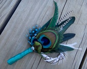 Peacock  boutonniere, customize ribbon color to match your wedding colors