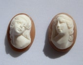 Loose Italian Cameos Matched Pair High Relief Cameos Italian made Vintage estate stock DanPickedMinerals