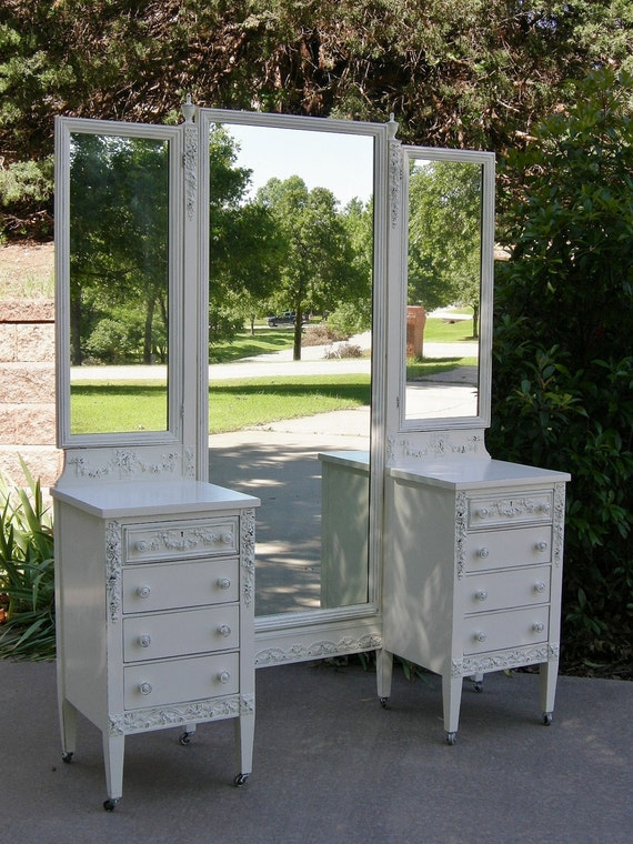 on sale antique vanity shabby white painted chic roses red barn