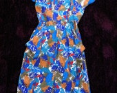 Vintage Summer Dress Spring 80s Toucon Palms Animal Print