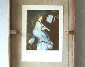 Vintage art print Renoir Lady at the Piano Bookplate Reproduction