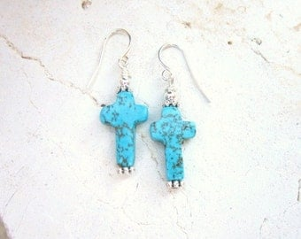 Turquoise Earrings. Turquoise Howlite Cross Earrings. Turquoise Jewelry