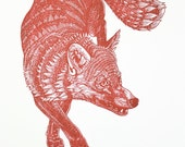 Red Fox Original Linocut Print