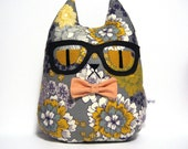 Hipster Cat Pillow Plush // Hermione // Glasses and Bow Tie // Grey Yellow Peach Brown Purple