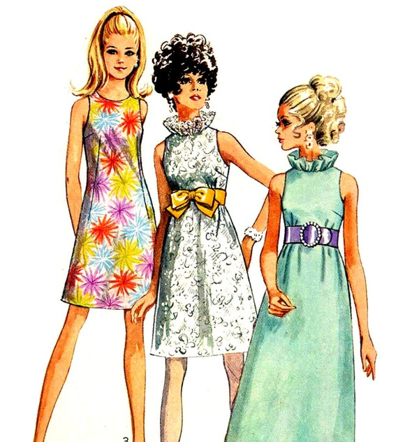 60s Mod Vintage Sewing Pattern A Line Dress with Ruffle Collar Simplicity 7955 Bust 32