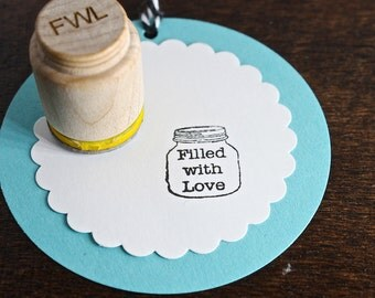 Filled with Love Mason Jar Stamp for gift tags, back of handmade cards, business owners