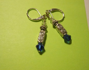 Doctor Who Sonic Screwdriver Earrings Swarovski Crystals Clasp Type Tibetan Silver