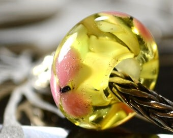 Blossom...Handmade lampwork glass charm bead fits European style bracelets SRA