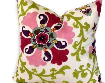 P Kaufmann Decorative Pillow Cover Throw Pillow Accent Pillow 18x18 20x20 or 14x20 Lumbar Pillow Suzani Pillow Cherry Chartreuse & Cream