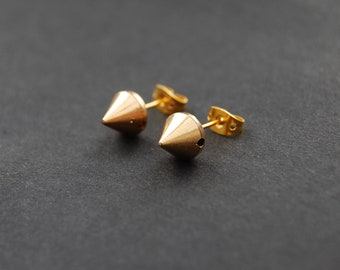 WAR SPIKES: Gold Spike Stud Earrings