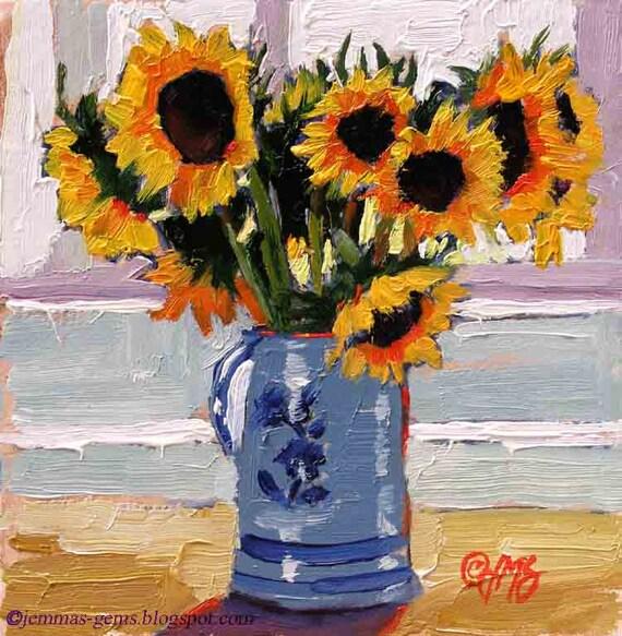 Sunflowers Art Print, Sunflower Painting,Garden Painting, Sunflowers Giclee Print  8 x 8 by Jemmas Gems