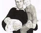 "Custom Baby Portrait - Pen & Ink Wash - Medium - 7"" by 9"""