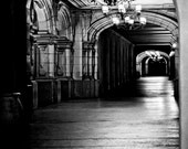 San Diego Photograph - Architecture, Black and White, Balboa Park, Night, Hallway, Light, Shadows, Arch, California, Fine Art Photography