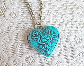 Heart Locket Necklace Valentine's Day Girlfriend Gift Something Blue Wedding Bridesmaid Turquoise Teal Aqua Statement Locket Pendant