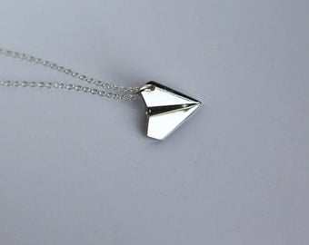 Paper Airplane Necklace- 925 Sterling Silver Chain- Origami Jewelry- Boy or Girl- Unisex- Fun Everyday Gift Idea
