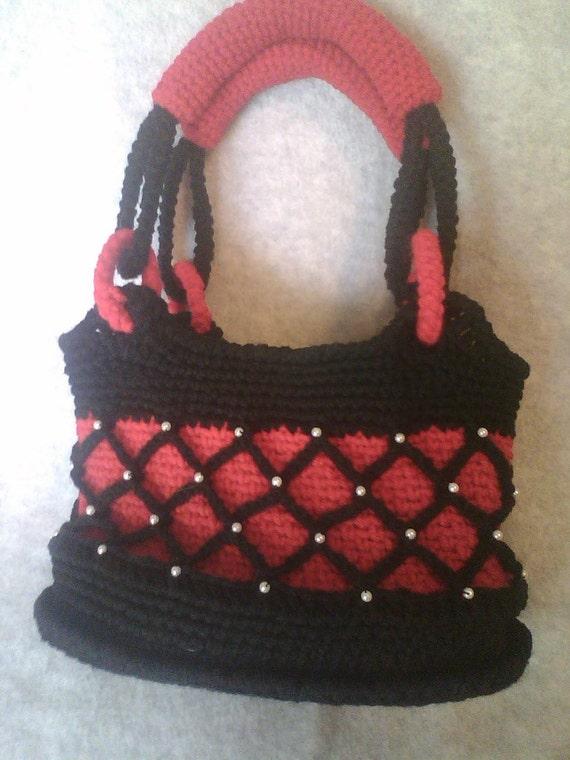 OOAK Handbag, Crochet with Netting, Pearl Beads