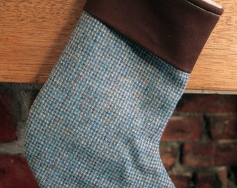 Blue tweed Christmas Stocking